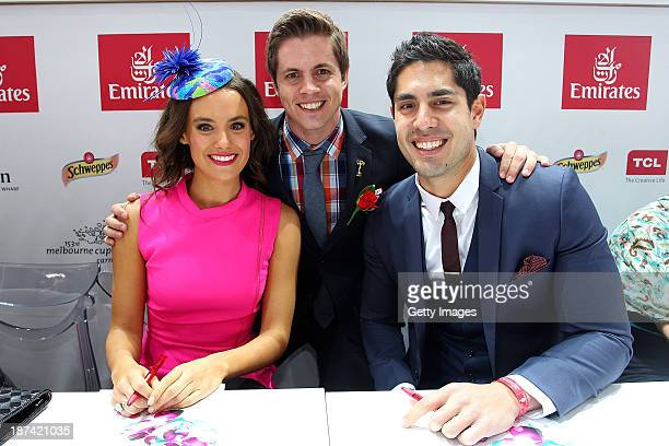 Home Away stars Cassie Howarth Emirates Stakes Day Fashions on the Field Ambassador Johnny Ruffo and Tai Hara pose at the Fashions on the Field...