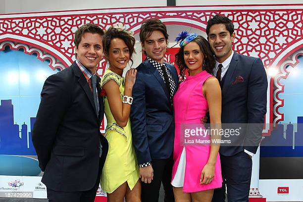 Home Away stars Johnny Ruffo Isabella Giovinazzo Jackson Gallagher Cassie Howarth and Tai Hara pose at the Fashions on the Field marquee during...
