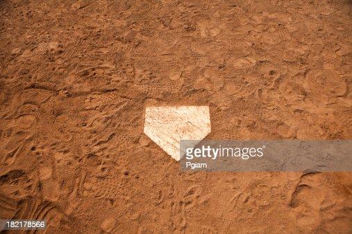 Home base plate on the diamond