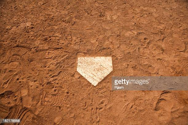 Home base plate on the diamond