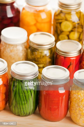 Home Canning Jars of Fall Harvest Vegetables and Fruit Vt