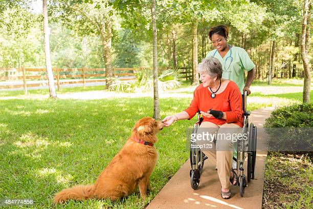 Home caregiver, nurse with senior adult patient outdoors. Nursing home.