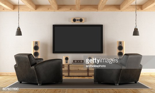 Home cinema system with vintage furniture : Stock-Foto