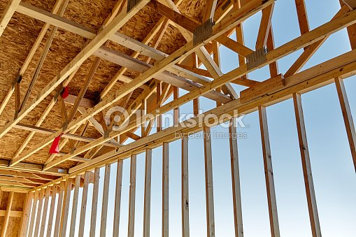 Home Construction Rafter Roof Truss Gable Framing Carpentry Stock ...