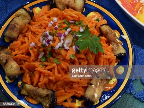 Home cooking. Oriental Starters - Carrots salad... : Stock Photo