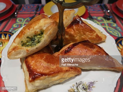 Home cooking. Oriental Starters - Stuffed puff pastry... : Stock Photo