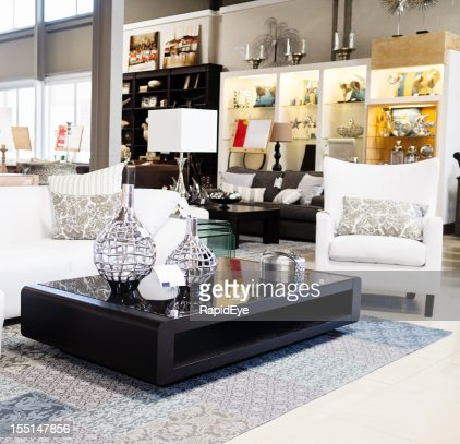 Home decor store displaying elegant furniture and accessories   Stock Photo. Home Decor Store Displaying Elegant Furniture And Accessories