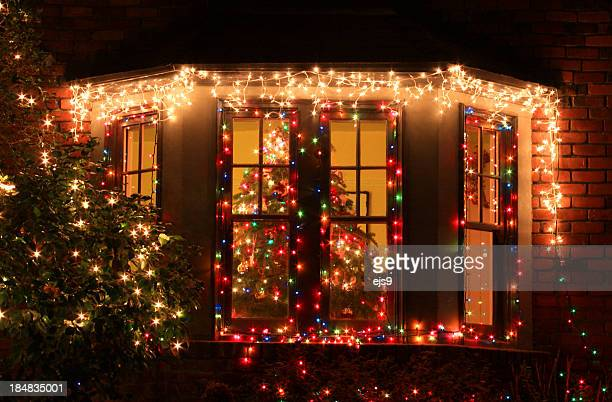Home decorated with Christmas lights and decorations