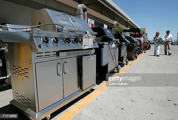 Home Depot customer shops for a barbecue gas grill at a Home Depot store on June 15 2006 in San Rafael California Retail outlets are promoting...