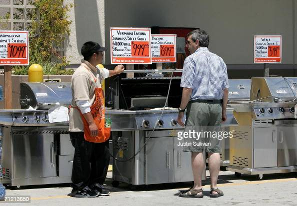 Home Depot customer shops for barbecue gas grill at a Home Depot store on June 15 2006 in San Rafael California Retail outlets are promoting Father's...