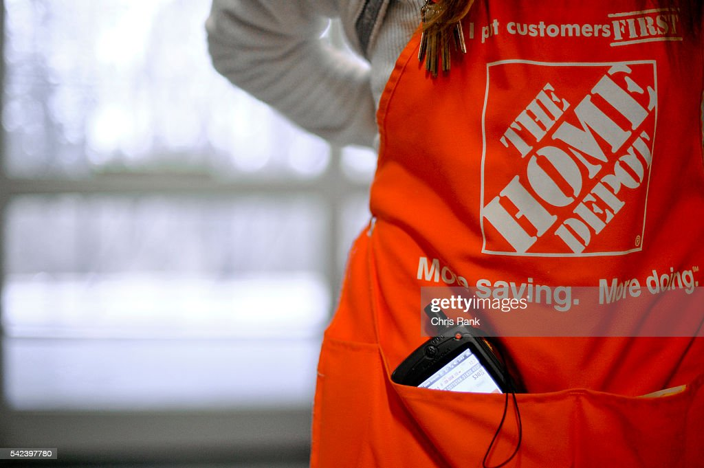 Home Depot Specialty Assistant Manager Brandi Bishop displays her new portable device The portable devices will be rolled out next year to help stock...