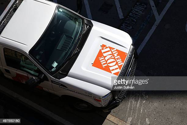 Home Depot trucks sits parked in a parking lot at a Home Depot store on November 17 2015 in Colma California Home Depot reported a 122 percent rise...