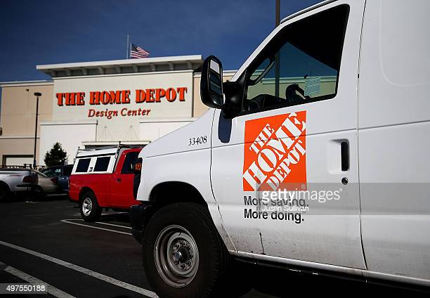 Home Depot trucks sits parked in a parking lot at a Home Depot store on November 17 2015 in Daly City California Home Depot reported a 122 percent...