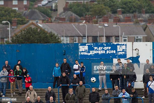 Home fans watching the action at Barrow AFC's Furness Building Society Stadium during the Barrow v Newport County Conference National Fixture Newport...