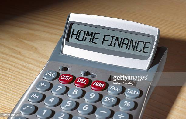Home finance written on calculator