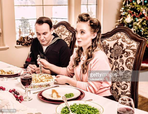 Home For Christmas Sailor and His Wife At Holiday Dinner