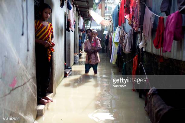 Home full of water in water logging area July 26 2017 Chittagong Bangladesh Every day the Chittagong city is facing unmatched waterlogging this year...