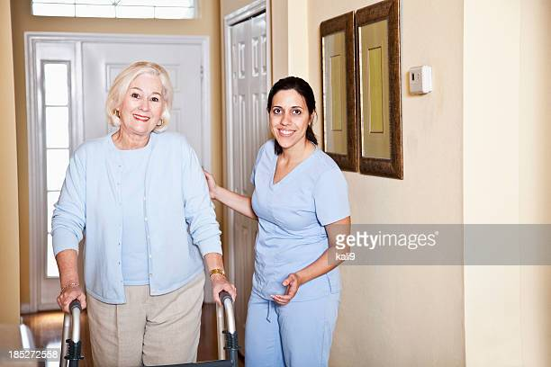 Home health aide with senior woman