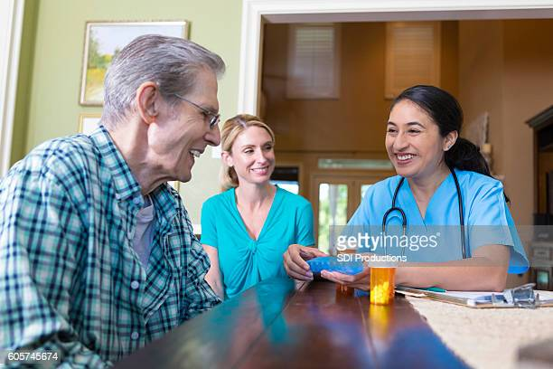 Home health care nurse visits with senior patient