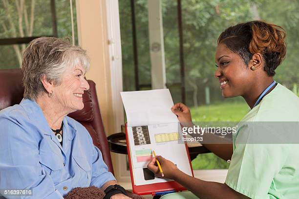 Home healthcare nurse with senior adult patient. Consulation. Medical results.
