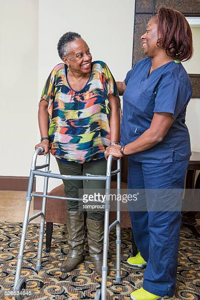 Home Healthcare Worker Assists Senior Woman