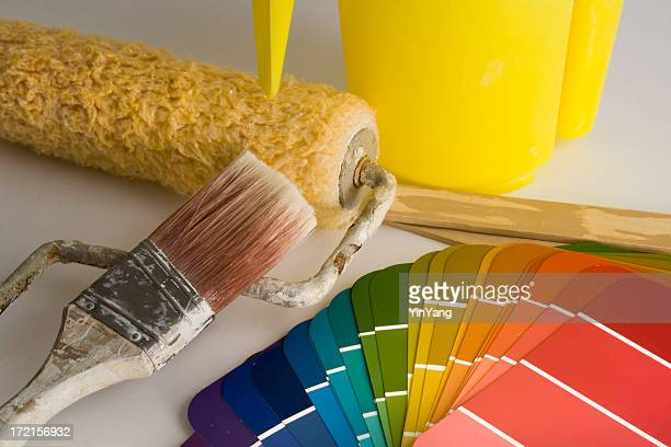Home Improvement Maintenance Painting with Brush, Roller and Color Swatches