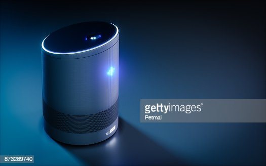 Home intelligent voice activated assistant. 3D rendering concept of hi tech futuristic artificial intelligence speech recognition technology. : Stock Illustration