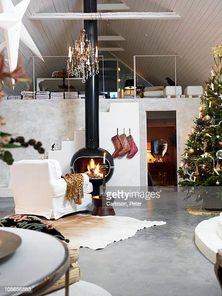 Home interior during christmas