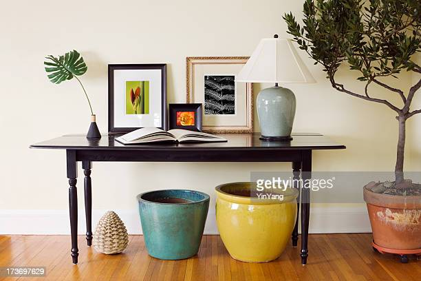 Home Interior Living Room Side Table Decorating Arrangement with Pots