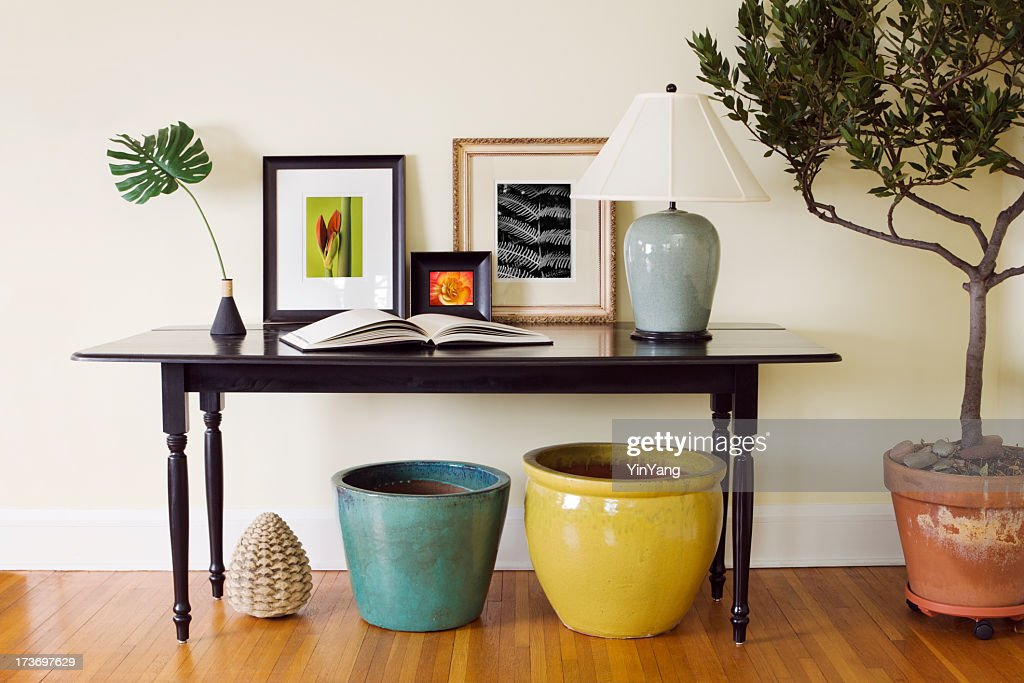 home interior living room side table decorating arrangement with pots stock photo getty images