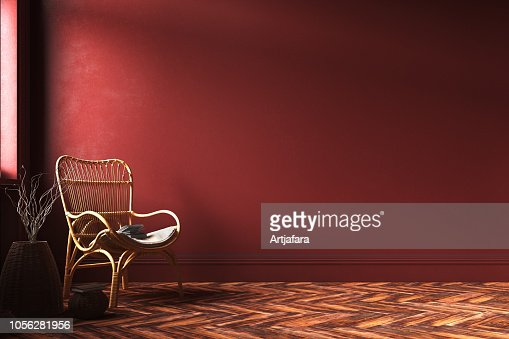 Home Interior Mockup With Rattan Armchair Wicker And Branches In