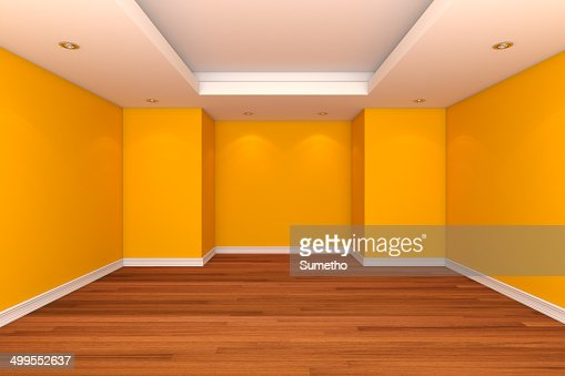 Home Interior Rendering With Empty Room Decorate Yellow Color Wa