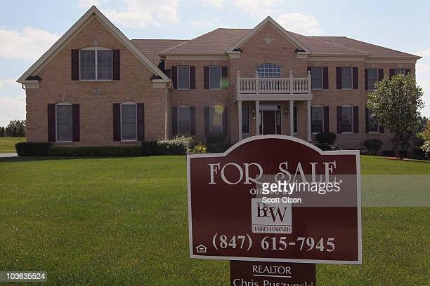 A home is offered for sale at a Toll Brothers development on August 25 2010 in Hawthorn Woods Illinois The sales of new homes fell 124 percent in...