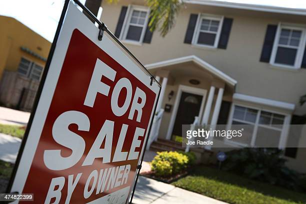 A home is seen for sale on February 25 2014 in Miami Florida The CaseShiller home price index found that house prices for 2013 posted a gain of 134...