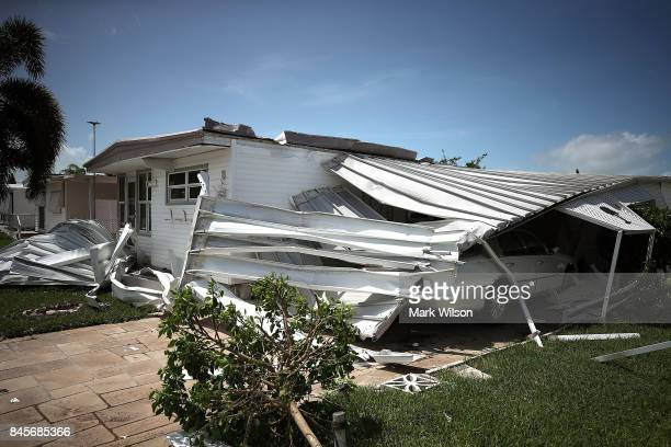 A home is shown damaged after Hurricane Irma hit the area on September 11 2017 in East Naples Florida Hurricane Irma made landfall in the Florida...