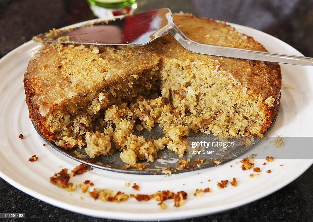 home made cake and cake slice