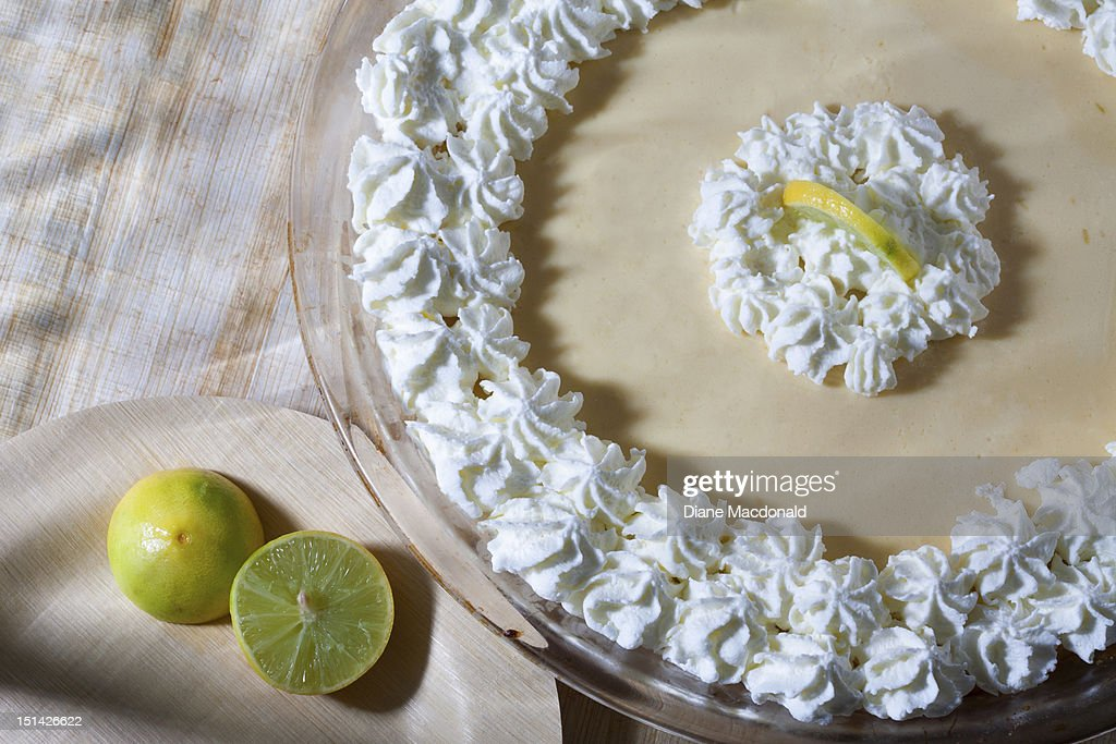 Home made classic yellow key lime pie : Stock Photo