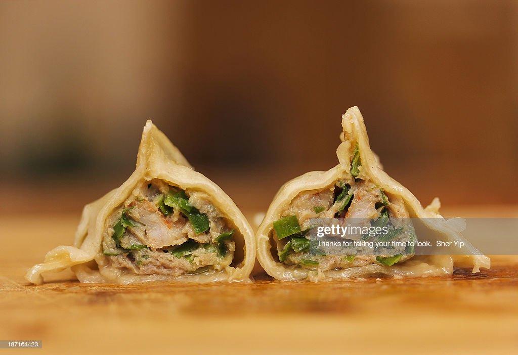 Home made dumplings - Pork, Shrimp, and Chive : Stock Photo