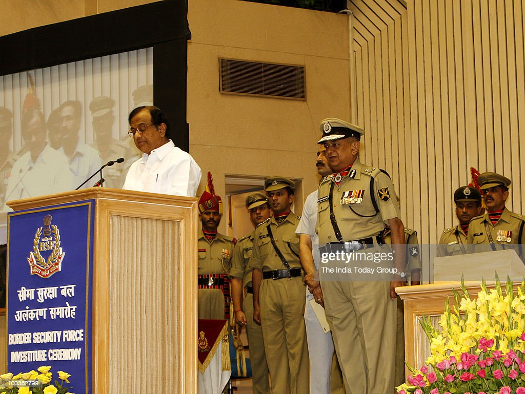 Home Minister P. Chidambaram addresses the investiture ceremony of BSF in New Delhi on Friday, May 21, 2010.