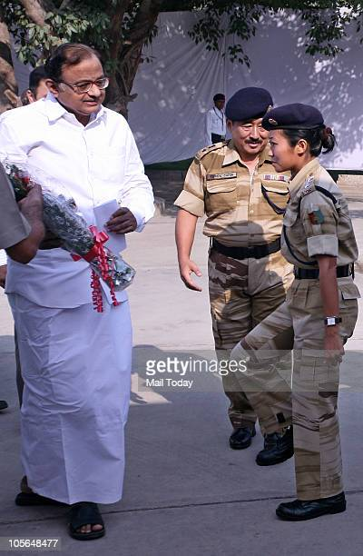 Home Minister P Chidambaram meets members of 15th Nagaland Armed Police Mahila Battalion in New Delhi on October 16 2010 The new battalion which...