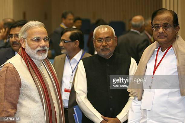 Home Minister P Chidambaram with Gujarat Chief Minister Narendra Modi and Bihar CM Nitish Kumar at the conference of Chief Ministers on Internal...