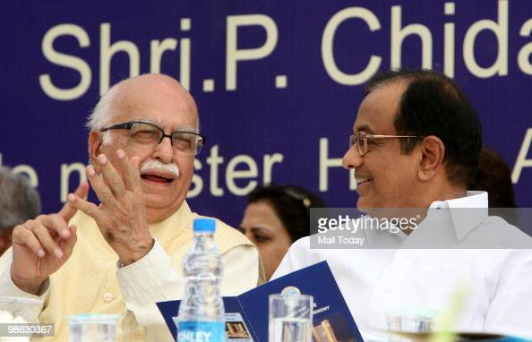 Home minister P Chidambaram with senior BJP leader LK Advani at the inauguration of the Shyama Prasad Mukherjee Civic Centre in New Delhi on April 22...