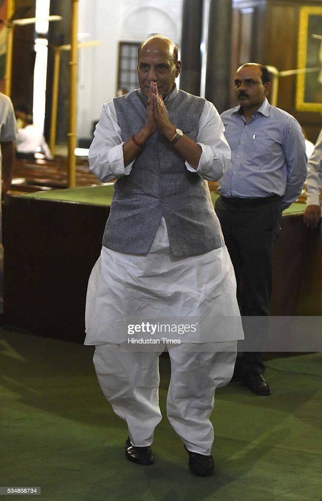 Home Minister Rajnath Singh after paying tribute to right-wing ideologue Veer Savarkar on his 133 birth anniversary, at Central Hall of Parliament House, on May 28, 2016 in New Delhi, India. Born on May 28, 1883 in Nashik in Maharashtra, Vinayak Damodar Savarkar, later known as Swatantraveer Savarkar, was a revolutionary and Hindu nationalist who was imprisoned by the British in the Cellular Jail in Andaman and Nicobar Islands.