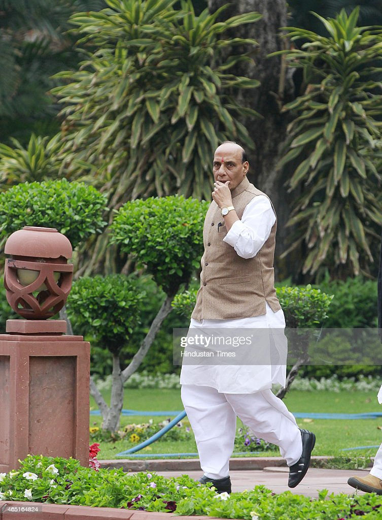 Home Minister <a gi-track='captionPersonalityLinkClicked' href=/galleries/search?phrase=Rajnath+Singh&family=editorial&specificpeople=582959 ng-click='$event.stopPropagation()'>Rajnath Singh</a> after the BJP Parliamentary Board meeting during budget session at Parliament house on March 3, 2015 in New Delhi, India. Prime Minister Narendra Modi emphatically stated that his government has a zero-tolerance policy towards terror, distancing himself from Jammu and Kashmir Chief Minister Mufti Mohammad Sayeed's controversial statement regarding the recently held elections in the state.