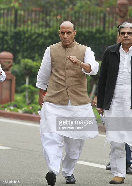 Home Minister Rajnath Singh after the BJP Parliamentary Board meeting during budget session at Parliament house on March 3 2015 in New Delhi India...