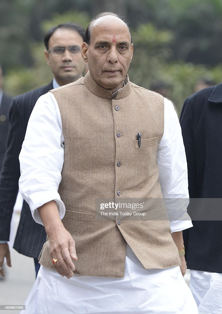Home Minister <a gi-track='captionPersonalityLinkClicked' href=/galleries/search?phrase=Rajnath+Singh&family=editorial&specificpeople=582959 ng-click='$event.stopPropagation()'>Rajnath Singh</a> after the BJP Parliamentary Board meeting in New Delhi.