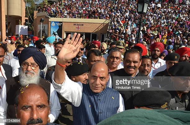 Home Minister Rajnath Singh along with Punjab CM Parkash Singh Badal during the inauguration of the expansion of the new viewers' gallery and BSF...