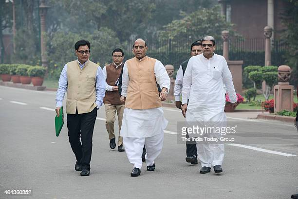 Home Minister Rajnath Singh and MoS Home Kiran Rijiju leaving the Parliament annex after the BJP's Parliamentary Board Meeting on day two of the...