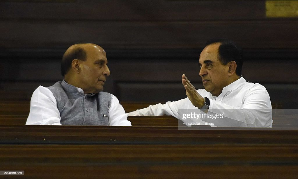Home Minister Rajnath Singh and Rajya Sabha MP Subramanium Swami after paying tribute to right-wing ideologue Veer Savarkar on his 133 birth anniversary, at Central Hall of Parliament House, on May 28, 2016 in New Delhi, India. Born on May 28, 1883 in Nashik in Maharashtra, Vinayak Damodar Savarkar, later known as Swatantraveer Savarkar, was a revolutionary and Hindu nationalist who was imprisoned by the British in the Cellular Jail in Andaman and Nicobar Islands.