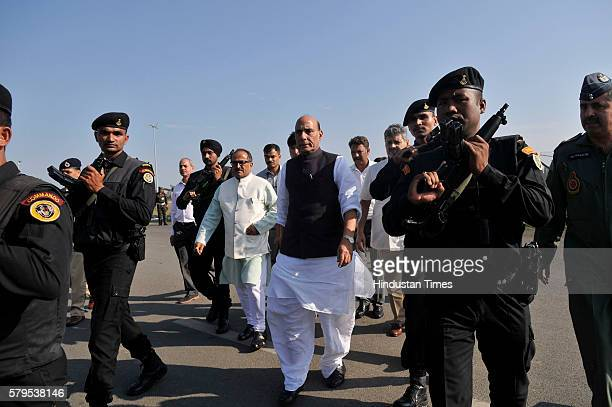 Home Minister Rajnath Singh arrives to address a press conference on law and order situation in the valley at the Technical Airport on July 24 2016...